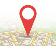 City Map With Marker, Vector Icon Stock Photo