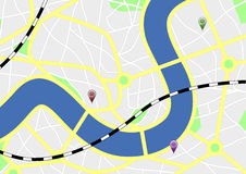 City map with markers Stock Photo