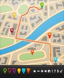 City map with navigation icons Stock Images