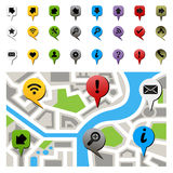 City map with navigation icons. Vector illustration Royalty Free Stock Photo