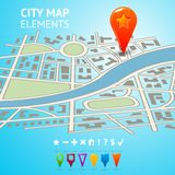 City map with navigation markers Stock Photos