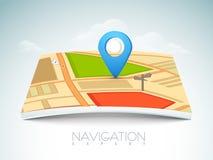City map with navigation pin. Stock Photos