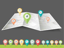 City map with navigation pointer. Royalty Free Stock Photo