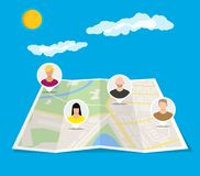 City map with people avatars. Social netwroking. Paper city map with people avatars. Social netwroking. Male and female faces avatars. Discussion group, people Stock Images