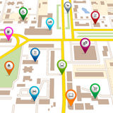 City map with pin pointers Stock Image