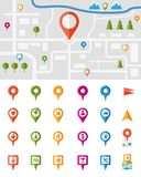 City map with pin pointers. City map with a large set of colorful pin pointers each showing a different vector infographic urban location  utility or service Stock Photo