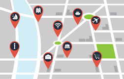 City map with pin. Vector city map with red pin points Stock Photos
