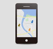 City map with pins , Mobile app Royalty Free Stock Photography
