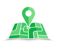 City map with pointer. Green geo pin symbol. Icons of map and pin symbol. Navigation and route illustration. Vector illustration for address and contact web page Royalty Free Stock Images
