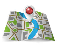 City map with red pointer Royalty Free Stock Photography