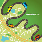 City map with roads and colorful cars royalty free illustration