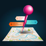 A city map with satellite gps pin point with label and tag Stock Image