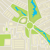 City map. Schematic cartographic representation of roads, homes, vegetation and ponds Royalty Free Stock Images