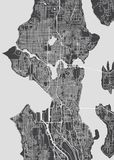 City map Seattle, monochrome detailed plan, vector illustration royalty free illustration