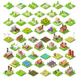 City Map Set 03 Tiles Isometric. Flat 3d Isometric Farm Buildings City Map Icons Game Tiles Elements Set. NEW bright palette Rural Barn Buildings Isolated on Royalty Free Stock Images