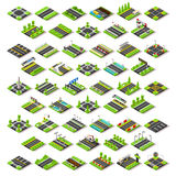 City Map Set 02 Tiles Isometric Stock Photos