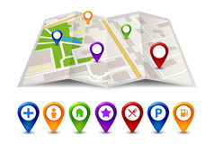 City map street view with labels or pins. Vector GPS travel symbol or icon Royalty Free Stock Photos