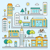 City Map with Streets, Buildings and Places Vector Outline Colored Illustration Royalty Free Stock Images