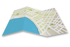 City map vector. Illustration of a generic folded map  on white backdround + vector eps file Stock Images