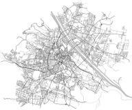 City Map of Vienna, Austria. Vector map of the city of Vienna, Austria Stock Photos