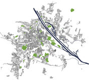 City Map of Vienna, Austria. Vector map of the city of Vienna, Austria Stock Photography