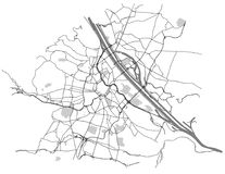 City Map of Vienna, Austria. Vector map of the city of Vienna, Austria Royalty Free Stock Image