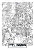 City map Washington, travel vector poster design stock illustration