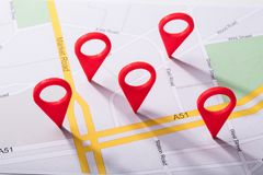 Free City Map With Location Marker Royalty Free Stock Photo - 126304585