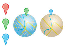 City maps with river and pointers on globes - vector. Eps 8 Stock Illustration