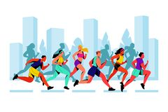 City marathon vector flat illustration. Running colorful people against city background. Outdoor sport concept. City marathon vector flat illustration. Running royalty free illustration