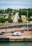 City of Mariehamn. Mariehamn, Finland - July 23, 2015: City view with harbor at summer day in Mariehamn, Finland Stock Photo