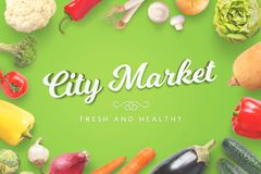 City Market freash and healthy vegetables on green background Stock Photos