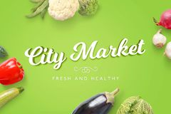City Market fresh and healthy text surrounded with flat arranged vegetables Royalty Free Stock Photography