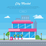 City Market Near Road Banner. Flat Design Style. City market near the road banner. Flat design supermarket general store, shopping mall and fashion store icon vector illustration