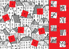 City: Match pieces, visual game. Solution in hidden layer! Royalty Free Stock Photo