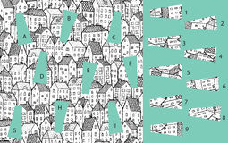City: Match pieces, visual game. Solution in hidden layer! Royalty Free Stock Image