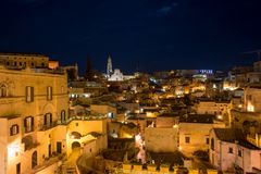 The City of Matera Lightened at Night stock images