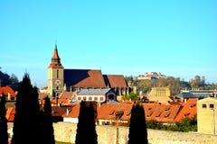 City medieval walls in Brasov Stock Image