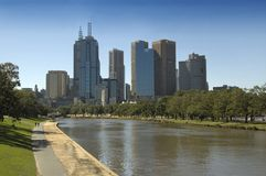 City of Melbourne. The city of Melbourne, Australia, as seen from up the Yarra River Stock Photo