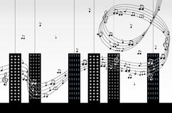 City melody. Classical music of the piano with the city concept Royalty Free Stock Photography