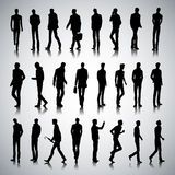 City men. Set of urban male silhouettes on abstract background Royalty Free Stock Image
