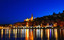 City of Menton by night. French Riviera Stock Image