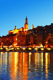 City of Menton by night. French Riviera Royalty Free Stock Images