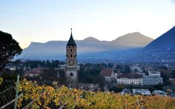 The city of Merano Italy with vineyards Royalty Free Stock Photo