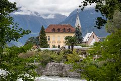 City of Merano at the river Passer. South Tyrol, Italy royalty free stock photography