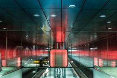 City metro station Hamburg with play of light. Fantastic play of light on the  modern metro station in Hamburg.Impressionism style Royalty Free Stock Photo