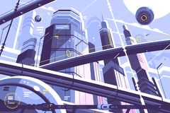 City metropolis of future. With skyscrapers and hyperloop. Vector illustration stock illustration
