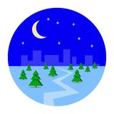 City, metropolis in the winter snow. Night, Christmas, new year, holiday, houses, city sleeps, forest. Flat design. City, metropolis in the winter snow. Night Stock Image