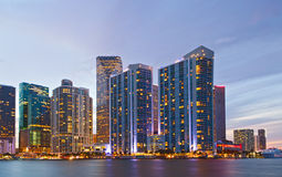 City of Miami Florida, colorful night panorama Stock Photos
