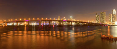 City of Miami Florida, colorful night panorama of downtown Royalty Free Stock Images